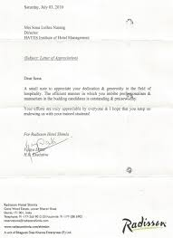 hayes institute of hotel management awards appreciations appreciation letter radissn