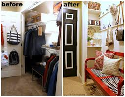 turning a closet into a mudroom