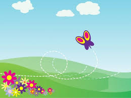Design For Powerpoint 2007 Cartoon Butterfly And Flowers Powerpoint Template Background Is A