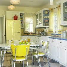retro 50s kitchen decor with small window also glass door kitchen cabineta plus yellow refrigerator in crisscross kitchen tile flooring