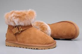 ... Women UGG 5859 Fox Fur Mini Boots Brown ...