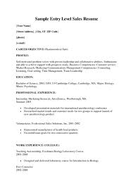 Entry Level Pharmaceutical Sales Resume Free Resume Example And