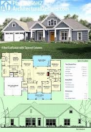 craftsman house plans with basement lovely plan hz 4 bed craftsman with tapered columns
