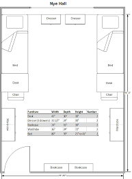 layout and sizing of nye hall room
