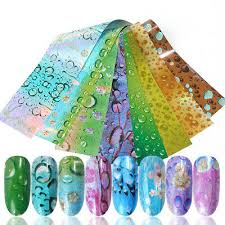 <b>16Pcs</b>/<b>Set</b> Holographicss <b>Nail Foils Waterdrop</b> Patterns Nail Art ...