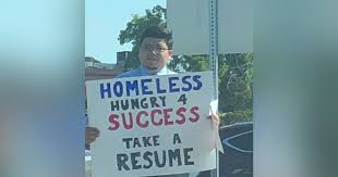 Homeless Man Stands On Corner Handing Out Resumes Instead Of Asking ...
