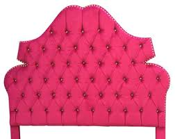 Upholstered Headboard Hot Pink Twin Full QUEEN or KING Size Hot Pink Tufted  Headboard with Rhinestones