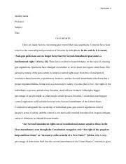 sociology essay tran christina tran sociology prof  7 pages fixed gun rights