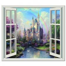 princess castle 3d window wall sticker fairytale wall decal girls bedroom decor