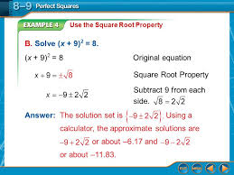 example 4 use the square root property b solve x 9 2