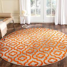 safavieh porcello light grey orange 5 ft x 5 ft round area rug
