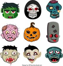 Funny Face Templates Halloween Masks Templates Collection Horror Funny Emotional