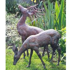 modern deer garden statue small metal pair bronze stag candle and blue uk outdoor family red