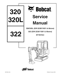Excavator Classification Chart Bobcat 322 Excavator Service Repair Manual S N 223511001 Above