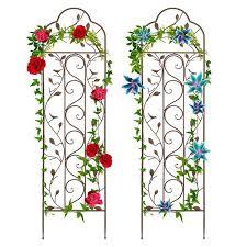 set of two iron arched garden trellis