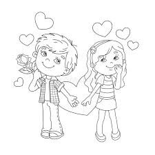Small Picture Coloring Page Outline Of Boy And Girl With Hearts Stock Vector
