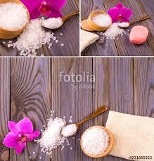 set of white bath salt in a wooden bowl