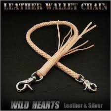 handmade genuine cowhide leather braid biker wallet chain strap tan wild hearts leather silver