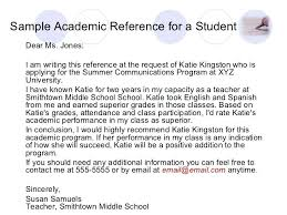 Sample Academic Reference Generic Letter Scholarship Recommendation