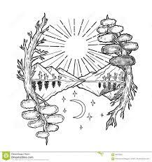 все время татуировка гор деревьев иллюстрация штока иллюстрации