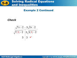 solving equations containing two radicals 12 example 2 continued check 3 3