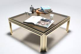 mid century coffee table cocktai table in brass chrome smoked glass attributed