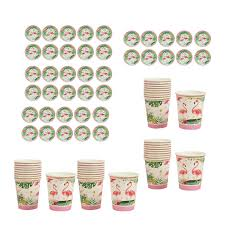 Paper Cup Size Chart Guangquanstrade 40 Set Tropical Flamingo Paper Plates And Cups Wedding Birthday Party Supply