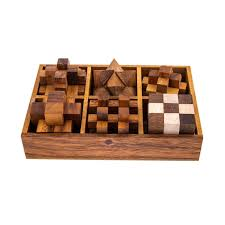 Wooden Box Board Games of 100 100D Brain Teaser Games Handmade in a Wooden Box Mind Puzzles 58