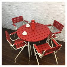 vintage french wooden red slat garden
