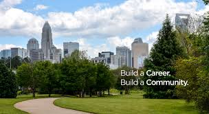 human resources > home city skyline text build a career build a community