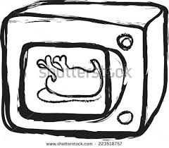 microwave clipart black and white. doodle microwave oven and roasted chicken clipart black white
