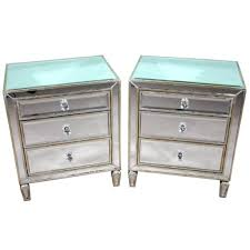 Twin Mirrored Bedside Table With Three Drawers