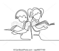kids reading books back to concept csp49077163