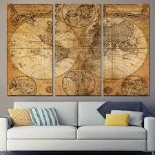 3 panel canvas art world map canvas ancient map wall art print framed unframed ash on world map wall art canvas with 3 panel canvas art world map canvas panel ancient map wall art print