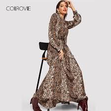 COLROVIE Snake Skin Leopard <b>Print</b> Vintage <b>Maxi</b> Dress Women ...