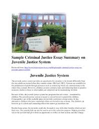 sample criminal justice essay on juvenile justice system