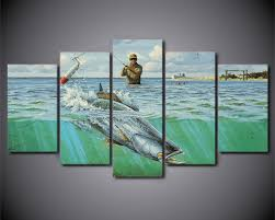 5 piece canvas prints. Fine Prints HD Printed 5 Piece Canvas Prints Wall Art Ocean Fish Soldier Fishing  Painting Frame Poster To A