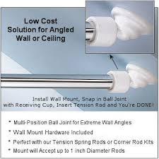 angled shower rod wall mount slanted