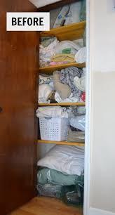 hall closet organization ideas and hall closet storage ideas messy linen closet before