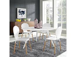 lippa 54 round artificial marble dining table set with tripod base in white