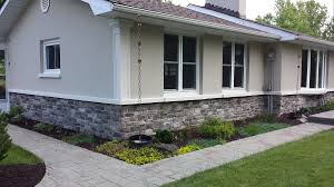Exterior Stucco With Stone Ranch Style Ontario Exterior - Exterior stucco finishes