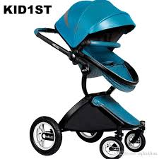2019 fashion pu leather baby stroller pram kids trolley bidirectional pushchair portable folding baby carriage can sit lie down from zqh