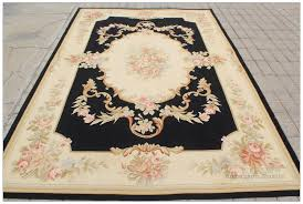 aubusson rug 6x9 black cream pink