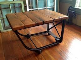 recycled industrial furniture. Reclaimed Wood Industrial Coffee Table Metal Casters Barn Recycled Furniture F