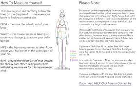 Gregory Size Chart Sizing Guide For Swimwear Active Wear Slix Australia Swimwear