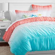 Surf Quilt Covers & Duvet Covers: Stunning Surf Duvet Cover For ... & Surf Dip Dye Ruched Duvet Cover + Sham, Capri/ Coral | PBteen Adamdwight.com