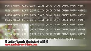 5 Letter Words That Start With Q Youtube