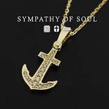 sympathizer sea of seoul necklace anchor pendant k18 yellow gold diamond necklace set ikari charm men