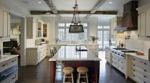 white kitchen dark wood floor. Kitchen Cream Wooden Bar Stool With Back Beige Granite Seamless Counntertops Three Ikea Pendant Lamp Dark White Wood Floor