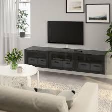 bestÅ tv unit with doors black brown